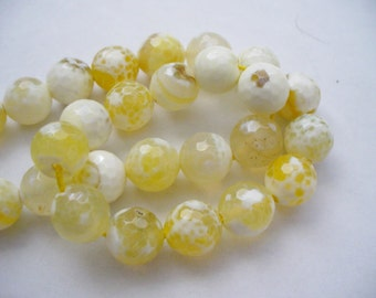 Fire Agate Beads Gemstone Faceted Yellow Round 10MM