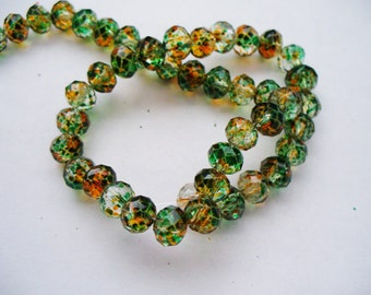 Transparent Painted Beads with Spots of Green, Gold, Orange Faceted Rondelles 6x4MM