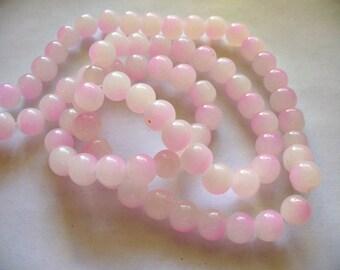 Glass Beads Light Pink/Pink Round 8MM
