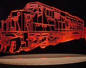 Train Locomotive Engine Acrylic Lighted Edge Lit LED Sign Full Size USA Original
