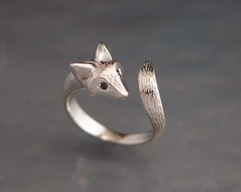 FURRED baby fox ring.  silver,   pick your eye color
