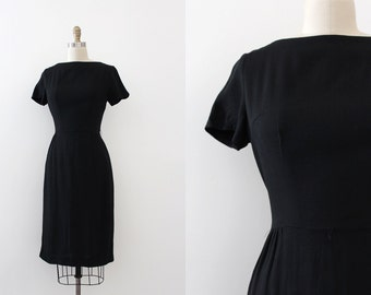 vintage 1960s little black dress // 60s black cotton wiggle dress