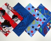 """48 Cotton Flannel 6""""x6"""" Quilt Squares in Pirates, Waves, Sailboats and Nautical Prints"""