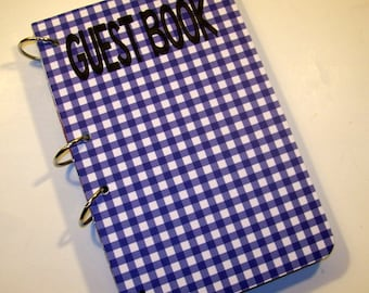 Blue Gingham Guest Book, Rustic Birthday, Barnyard Party, Sign in Book, Barnyard Baby Shower, Rustic Party