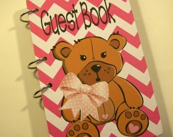 Guest Book, Pink Chevron and Teddy Bear Party, First Birthday, Party Sign in Book, Baby Shower Guestbook, Birthday Party Guestbook