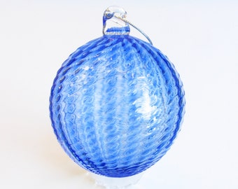 Glass Ball Christmas Ornament Suncatcher, Holiday Decor, Tree Decorations, blue