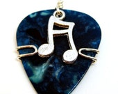 Guitar Pick Jewelry - Blue Pick with Silver Music Note
