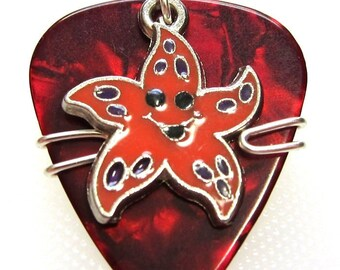 Starfish on Red Pick - Guitar Pick Pendent