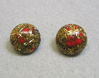 Red Confetti Lucite Clip On Earrings