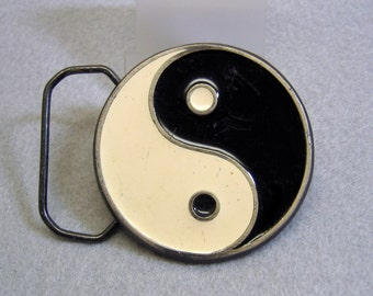 Vintage Enamel Yin Yang Belt Buckle, Cast Metal