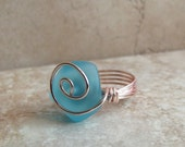 Blue Sea Glass Ring:   Rose Gold Wire Wrapped Ring, Ocean Blue Beach Glass Ring, Rose Gold Swirl Ring, Size 6, Nautical Jewelry