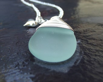 Aqua Drop Necklace:  Seafoam Green Sea Glass Necklace, Ocean Surf Jewelry, Beach Pendant Necklace, Long Silver Chain Necklace