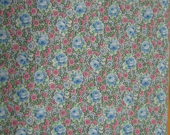 Vintage Fabric // Floral // Blue and Pink