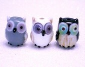 15 pieces Owl Lampwork Beads, Glass Bird Beads, gray, white, black