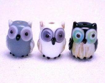 3, 15 pieces Owl Lampwork Beads, Glass Bird Beads, gray, white, black