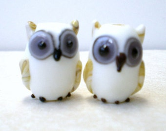 10 pieces Lampwork Owl Beads, White Glass Owl Beads, Lampwork Bird Beads, Glass Bird Beads