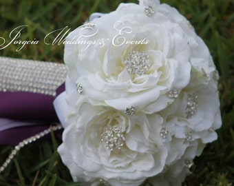 White Rhinestone Brooch Bridal Bouquet, bling bouquet,