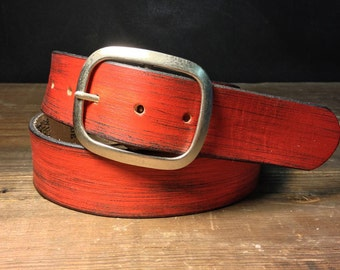 Red Leather belt - Distressed leather belt - leather snap belt -    Handmade in USA