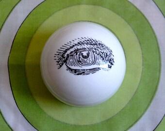 Piero FORNASETTI  Eyeball Paperweight.  Modernist Ceramic decorative object. Italy.  Vintage Mod, Mid century, Danish Modern, Eames era.