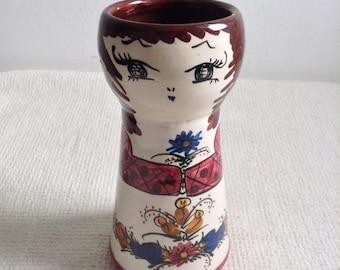 Art Pottery Vase.  Female Vase.  Danish Modern, Scandinavian Style.    Vintage 1960.