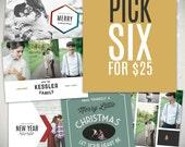 Christmas Card Templates: Choose 6 single Holiday Card templates for 25