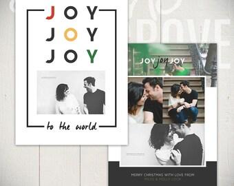 Christmas Card Template: Simple Joys D - 5x7 Holiday Card Template for Photographers