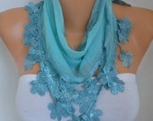 Mint Floral Cotton Scarf, Graduation Day Gift, Shawl, Necklace, Cowl Bridesmaid Gift Gift Ideas For Her, Women Fashion Accessories, Scarves