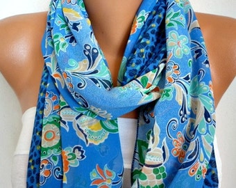 Blue Floral Chiffon Infinity Scarf, Teacher Gift Cowl Scarf,Circle Loop Scarf, Gift Ideas For Her,Women Fashion Accessories Women Scarves