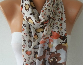 Leopard Print Scarf,Fall Scarf, Chiffon Shawl Bridesmaid Gifts,cowl scarf,Gift Ideas For Her Women Fashion Accessories,christmas gift