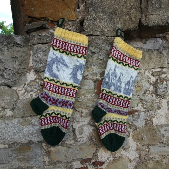 Pattern Fair Isle knitting instruction for Christmas stockings ...
