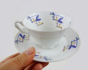 Vintage White Porcelain Cup with Saucer from Schlaggenwald Porzellan with Pretty Blue and Yellow Pattern