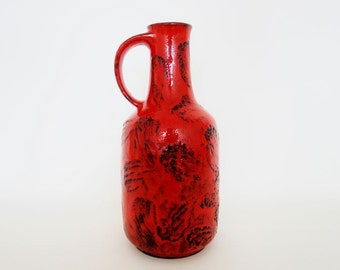 Mid Century Large Gräflich Ortenburg Fat Lava Vase 617 in Red & Black Designed by Ursula Beyrau