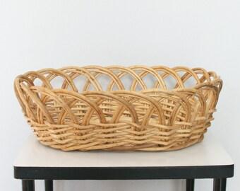 SALE Large Oval Rattan Basket - Rattan Sewing Basket - Wicker Storage Basket