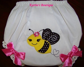 Bee Diaper Cover / Bloomers / Precious / Yellow / Double Seat/ Birthday/ Newborn/ Infant / Baby / Toddler / Girl / Custom Boutique Clothing