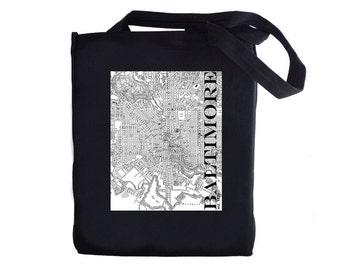 Tote Bag - Baltimore Street Map  - Vintage -  Canvas Tote Bag