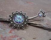 Belly Button Rings Purple Opal Sunburst