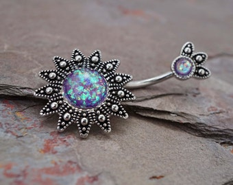 Belly Button Rings Purple Opal Sunburst