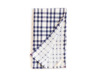 Blue And White Tea Towel With Checks and Dots