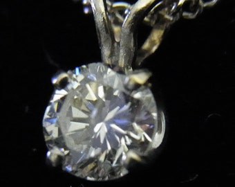 Vintage .47ct Diamond Solitaire 14k White Gold Pendant Estate Jewelry Gift LAYAWAY AVAILABLE