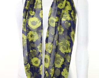 Infinity scarf- Circle scarf- Cowl Scarf- Sheer Scarf- floral-print-abstract-lime green-navy blue