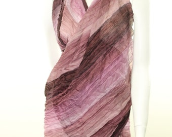 Crinkle- Crushed- Pure Silk- Hand painted- purple- violet- lavender- mauve-  sarong scarf shawl wrap- beach- silk