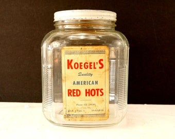 Vintage Koegel Meats American Red Hots Anchor Hocking Jar with Original Label and Lid (c.1930s) - Large 1 Gallon Ribbed Canister Jar