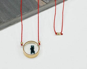 Brass and Resin 'Balloo the Bear' pendant on Red Silk cord