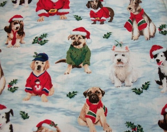 Dogs Dressed forChristmas Fabric  By The Fat Quarter BTFQ New