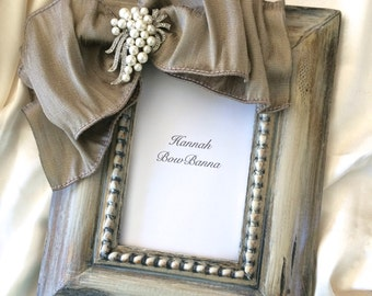 Wedding Photo Frame Bow Jewel Personalize Rustic Neutral Ivory Diamond Pearl Bling Personalize