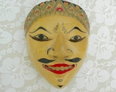 Balinese Dance Mask, carved wood, hand-painted, for the wall