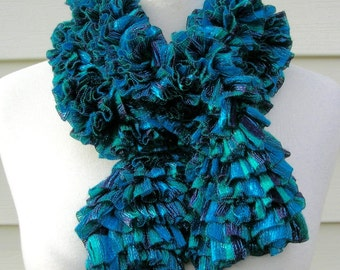 SUMMER SALE Handmade Dressy Turquoise Knit Long Oblong Scarf, black accents & silver threads, festive look