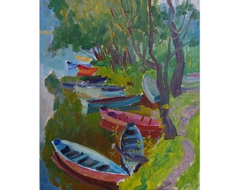 Vintage Oil Painting - Boats