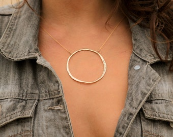 Bold Circle Necklace / Infinite Necklace / Personalized Necklace / Hammered Circle / Hammered Jewelry
