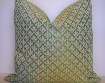 Green Pillow Cover Fleur de lis Pillow Medium Green Print Pillow BOTH SIDES 16 18 20